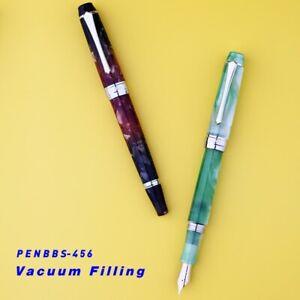 PENBBS 456 Acrylic Vacuum Filling Fountain Pen Silver Clip Fine Nib Writing #J9