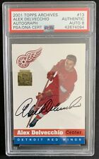 2001-02 Topps Archives Hockey #13 Alex Delvecchio Autograph PSA 8 Auto Red Wings