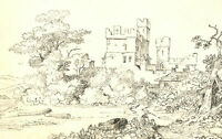 Mary Anne Baignis - c.1825 Graphite Drawing, The Castle Over the Field