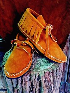 Soft Suede Moccasins low boot Western Indian Saddle fringe Pawnee Men Tehuas NWT