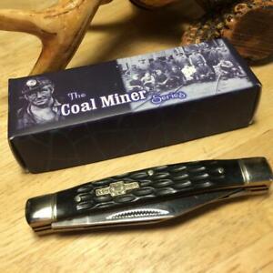 "Rough Rider The Coal Miner Black Jigged Bone Stockman 3 1/4"" Pocket Knife  RR759"