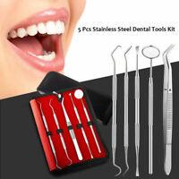 5 Tools Professional Dental Oral Hygiene Kit Deep Cleaning Scaler Teeth Care Set