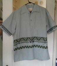 Vintage 50/60s S McInerny Iolani Hawaiian Shirt Green  Tiki Pullover Large