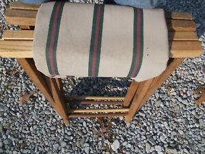 Pair of Vintage Wood Folding Camping Stools w/Canvas to Sew