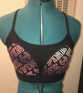 PINK Victoria's Secret Logo Ombre Red Black Ultimate Sports Bra L NEW NWT