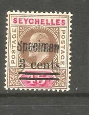 SEYCHELLES  1903  3c on 45c  KEVII  MLH SPECIMEN  SG 59s