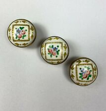 More details for 3 x domed hand painted porcelain vintage buttons 10mm thick circa 1900  1b