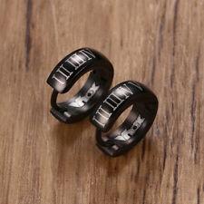 Fashion Rock Punk Black Men Hoop Earrings Ear Stud Roman Numeral Stainless Steel
