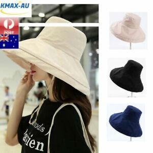 Extra Wide Brim Anti-UV Fisherman Women Cap Hat Summer Beach Sun Bucket Foldable