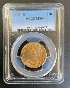 1901-S $10 Uncirculated Liberty Head Gold Eagle, PCGS MS-63