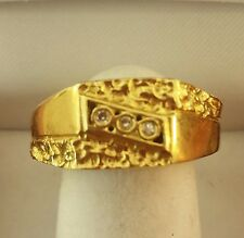 1980s 14k Gold Nugget Motif 3 Diamond  Young Men / Boys Ring Sz.8.75  W 4.5 gram