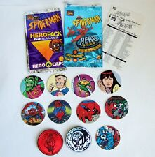 Spiderman Hero Caps, Toy Biz 1994, 9 x Pogs 2 x Fat Slammers with Packs