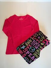 FADED GLORY Black Multi Peace Love Rock Fleece Pants Pink Tee PJs PAJAMAS M 7/8