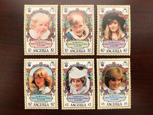 Anguilla 1982 Scott #485-490 Princess Diana 21st Birthday Portraits Mint NH