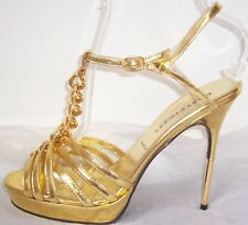 BRUNO FRISONI Gold Leather Chain Metal Spike Heel Sandals Shoes 39  8.5