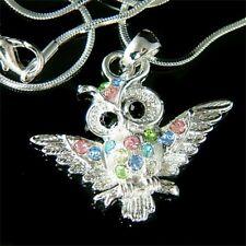 Rainbow w Swarovski Crystal Guardians WISE OWL Hawk wisdom Bird Pendant Necklace
