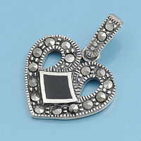 Heart Marcasite Pendant Sterling Silver 925 Vintage Style Jewelry Black Onyx