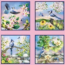 Elizabeth Studios Feathered Friends Quilt Fabric -Blue Jay's Panel
