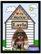 PERSONALIZED MORKIE DOG PHOTO MAGNET ~ DOGHOUSE DESIGN