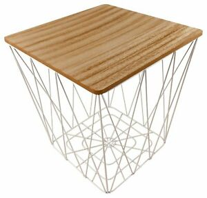 Square Side Coffee End Table With White Wire Metal Geometric Base & Wooden Top