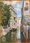 "Vintage Illustrated Travel Poster CANVAS PRINT Venezia canal Italy 24""X18"""