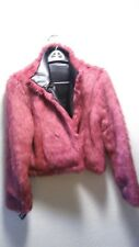 Goth Small Faux Black Leather Hot Pink Monster Fur Coat Reversible NEW Vtg 90's