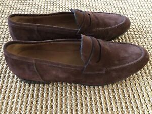 Ralph Lauren PURPLE LABEL Snuff Brown  Chessington Suede Penny Loafers 9 NWOT