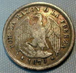 1870 Chili 1/2 Decimo Silver Coinage KM# 149 (193)