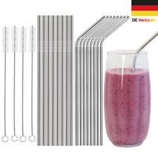 16 Metall Edelstahl Strohhalme Trinkhalme wiederverwendbare mit Reinigungsbürste