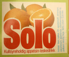 NORWAY SOFT DRINK CORDIAL LABEL, 1970s HANSA BRYGGERI BERGEN, SOLO ORANGE Sm 7