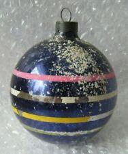 "Vintage Glass Christmas Ornament 3.5"" Dark Blue/Purple Stripes Old Farmhouse"
