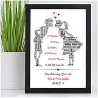 1st Wedding Anniversary Gift Personalised One Year As Mr & Mrs Print Present