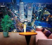3D City Building Night Landscape Self-adhesive Wall Murals Painting Wallpaper