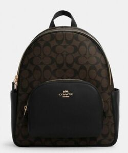 Coach 5671 Signature Court Backpack In Signature Canvas Leather Brown Black NWT