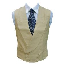 "Double Breasted Irish Linen Waistcoat in Sand 42"" Long"
