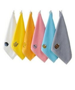 Kakao Friends Hand Embroidery Towels Washcloths 6 Pcs Cotton 100% 50g
