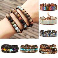 7 Chakra Bracelet Handmade Boho Natural Stone Beads Leather Wrap Bangle Gift Hot