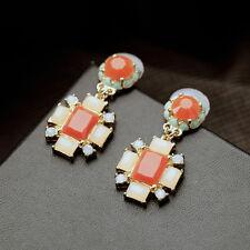 Ohrringe Mode Gestüt Golden Koralle Orange Kristall Rechteck Blume Anhänger B6