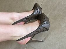 L.A.M.B. Gwen Stefani Leather Cut Out Platform Slingback Heels - Brown Sz 7.5 M