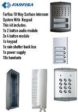 FARFISA 10 modo superficie INTERCOM AUDIO / sistema KIT 1xintercom 8xhandsets 1x TASTIERINO