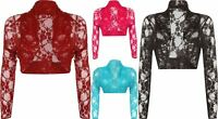 NEW LADIES PLUS SIZE FLORAL LACE LONG SLEEVE  SHORT SHRUG WOMEN'S CARDIGAN 14-28