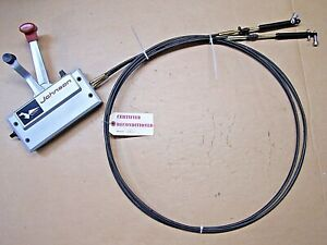 REBLT JOHNSON SHIP-MASTER EVINRUDE 2 HANDLE OUTBOARD CONTROL BOX W/ 13' CABLES