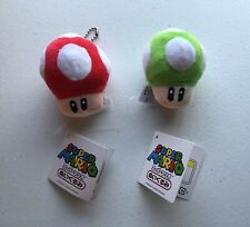 Lot 2 Nintendo Super Mario Bros. Brothers Red & Green Mushrooms Plush Keychains