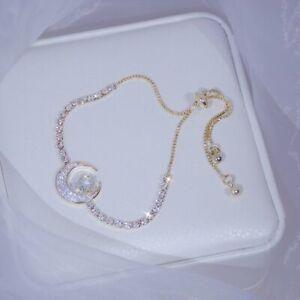 Luxury 925 Sliver Zircon Moon Star Diamond Bracelet Woman Bangles Anniversary