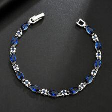 Horse Eye Style Swiss Blue Topaz White Topaz Gemstone Silver Charming Bracelets