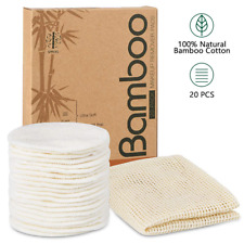 20 Packs Organic Reusable Makeup Remover Pads, Washable Eco-friendly Natural for