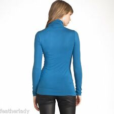 La Redoute PEACOCK BLUE roll polo neck long sleeved casual t shirt top UK 4 6