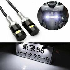 2x White SMD LED 12V License Plate Light Screw Bolt Lamp/Bulb+Harness Black
