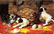 CT74.Antique Tucks Postcard. Dogs. Pancakes. Kitten, Puppies, broken eggs.