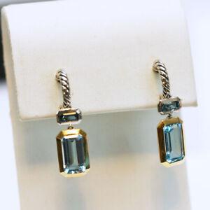 DAVID YURMAN New Novella Silver & 18K Gold Drop Earrings Hampton & Blue Topaz